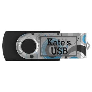 Pen Drive Giratório Movimentação azul e das cinzas dos círculos de USB