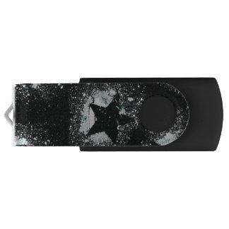 Pen Drive Giratório Movimentação preta do flash de USB da estrela