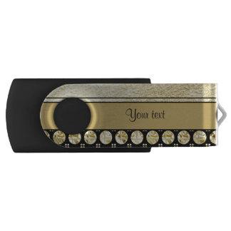 Pen Drive Giratório Ouro & listras e pontos pretos do brilho