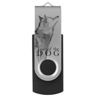 Pen Drive Giratório Shiba Inu que pinta 1 ano chinês do cão USB 2018
