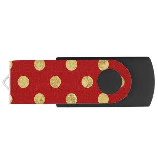 Pen Drive Giratório Teste padrão de bolinhas elegante da folha de ouro