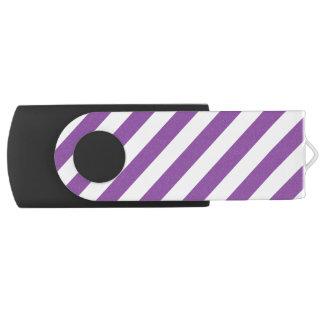 Pen Drive Giratório Teste padrão diagonal roxo e branco das listras