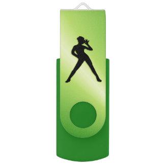 Pen Drive Giratório Verde da dança moderna