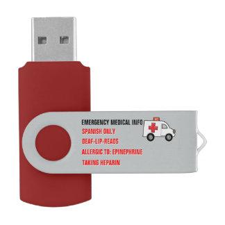 Pen Drive Informação médica da emergência na mão
