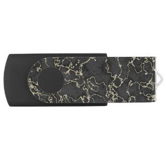Pen Drive Mármore elegante do preto e do ouro