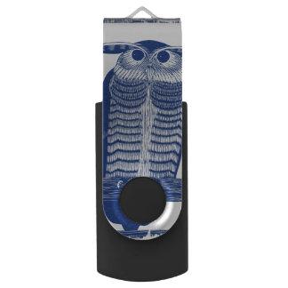 Pen Drive Mencione a coruja moderna no azul