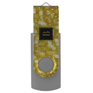 Pen Drive Monograma Glam do brilho de Bokeh do ouro