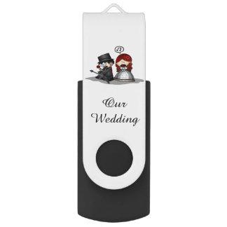 Pen Drive Movimentação preta do flash de USB/nosso casamento