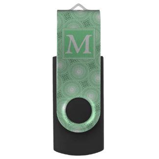 Pen Drive O verde do primavera do monograma circunda o teste