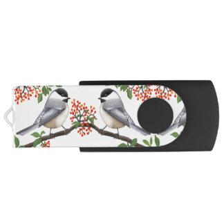 Pen Drive Pássaros do Chickadee com movimentação do flash de