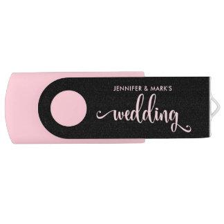 Pen Drive Suas memórias do casamento | cor-de-rosa e preto