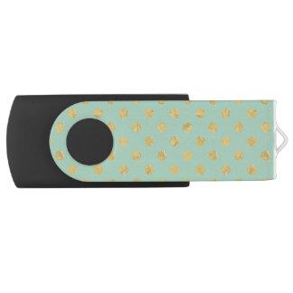 Pen Drive Teste padrão de bolinhas elegante da folha de ouro