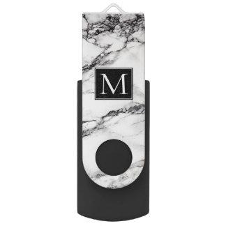 Pen Drive Teste padrão de mármore branco e preto Monogrammed