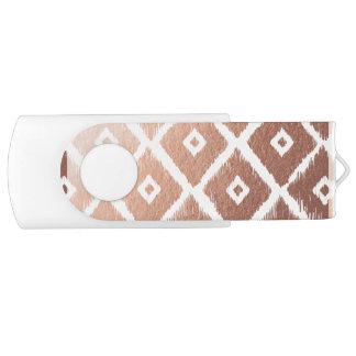 Pen Drive Teste padrão tribal cor-de-rosa da folha de ouro