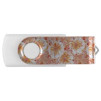 Pen Drive Teste padrão tropical do hibiscus do pêssego de