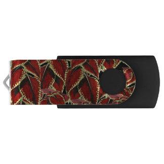 Pen Drive Teste padrão vermelho da folha no preto