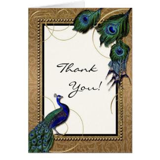 Pena 7 do pavão do vintage - obrigado que elegante cartão de nota