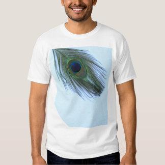Pena azul D do pavão Camisetas