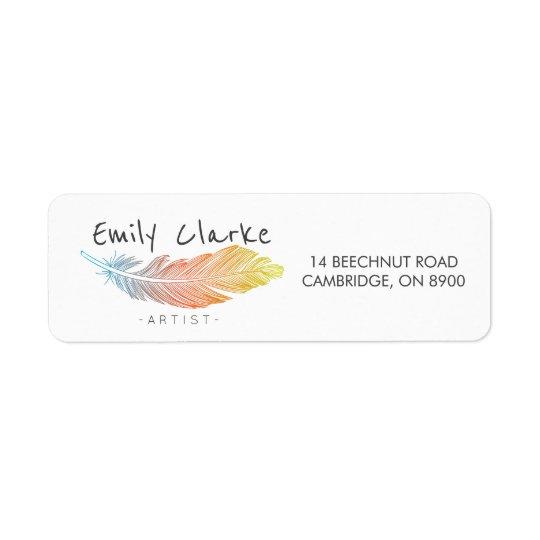 Pena colorida personalizada etiqueta endereço de retorno