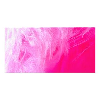 Pena cor-de-rosa cartão com foto