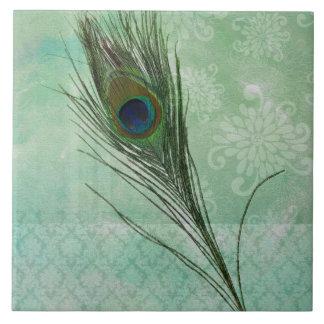 Pena do pavão da hortelã azulejos de cerâmica