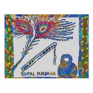 Pena do pavão e flauta - lebre Krishna Cartão Postal