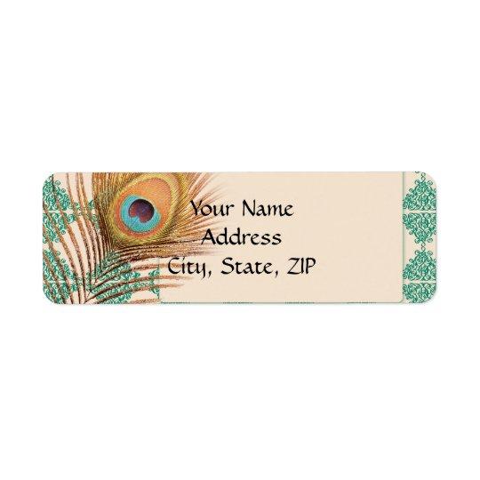 Pena do pavão no azulejo marroquino da cerceta etiqueta endereço de retorno