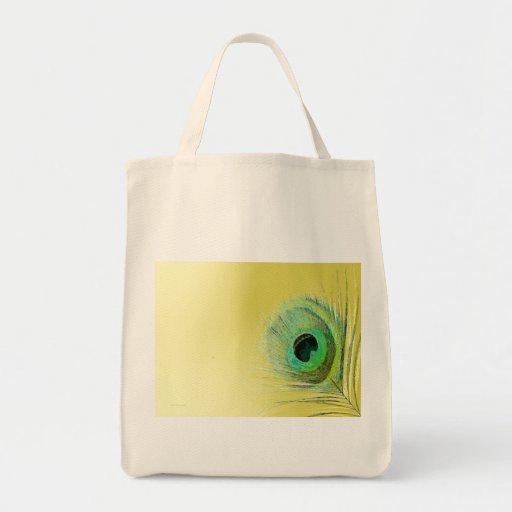 Pena do pavão no ouro bolsas para compras