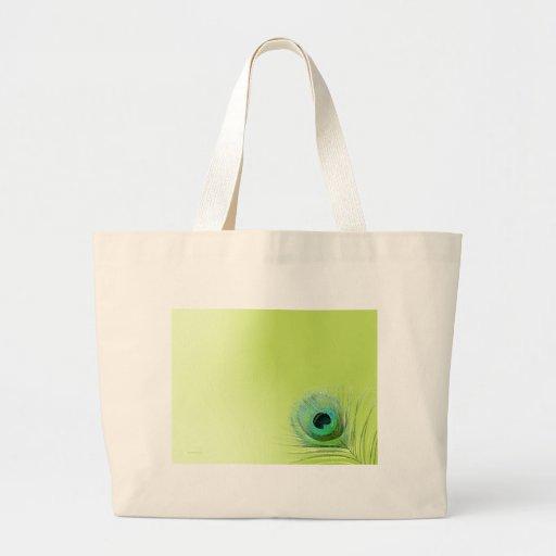 Pena do pavão no verde bolsa de lona