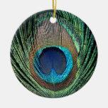 Pena escura do pavão enfeite de natal
