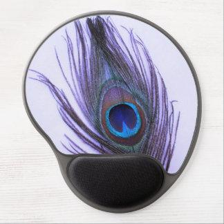 Pena roxa do pavão no roxo mousepads de gel