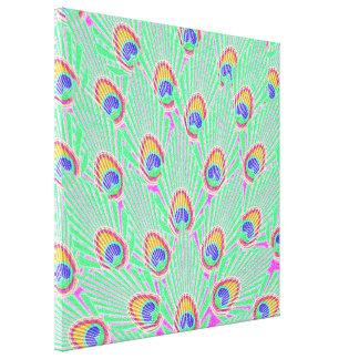 Penas abstratas do pavão impressão de canvas esticada