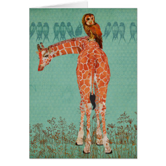 Penas ambarinas do girafa & da coruja cartão comemorativo