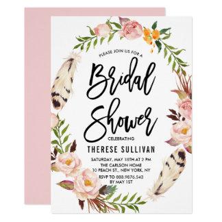 Penas boémias & chá de panela floral da grinalda convite 12.7 x 17.78cm