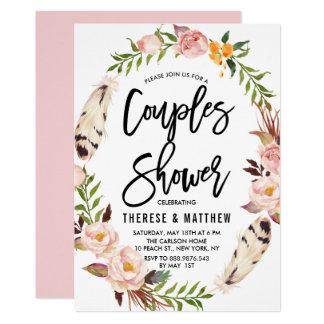Penas boémias & chá floral dos casais da grinalda convite 12.7 x 17.78cm
