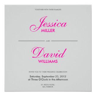 Penas de queda no casamento moderno cinzento convite quadrado 13.35 x 13.35cm