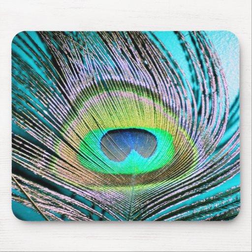 Penas do pavão na turquesa mousepad