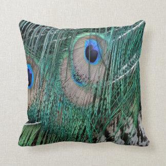 Penas esverdeados bonitas do pavão travesseiros