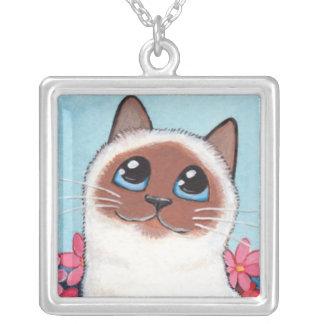 Pendente aguçado da arte do gato do gato   de colar banhado a prata