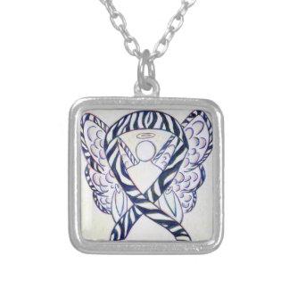 Pendente da arte do anjo da fita da consciência da colar banhado a prata