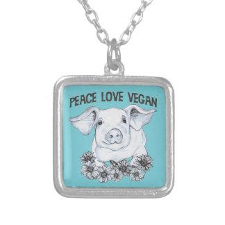 Pendente da colar do porco do Vegan do amor da paz