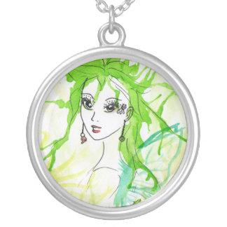 "Pendente ""feericamente"" verde colar com pendente redondo"