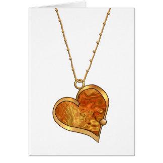 Pendente multicolorido Necklace-012 do coração Cartão Comemorativo