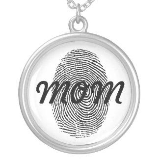 Pendente quadrado da lembrança da impressão digita colar banhado a prata