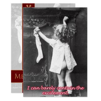 Pendurando uma meia, um cartão do natal vintage