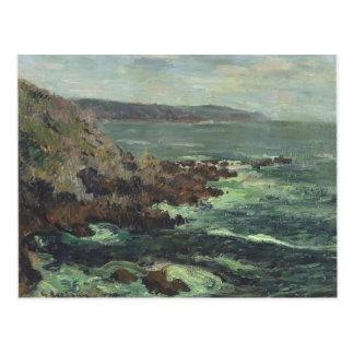 Penhascos da rocha de Gustave Loiseau- pelo mar em Cartao Postal
