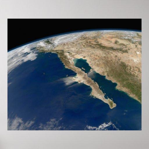 Península satélite México de Baja da imagem Impressão