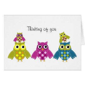 Pensamento de você cartão da coruja