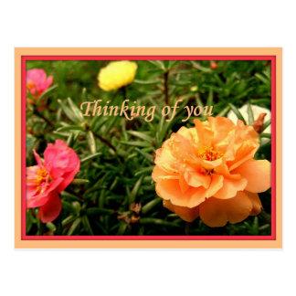 Pensamento de você cartão da flor 8 blocos