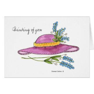 Pensamento de você * cartão de nota cor-de-rosa do